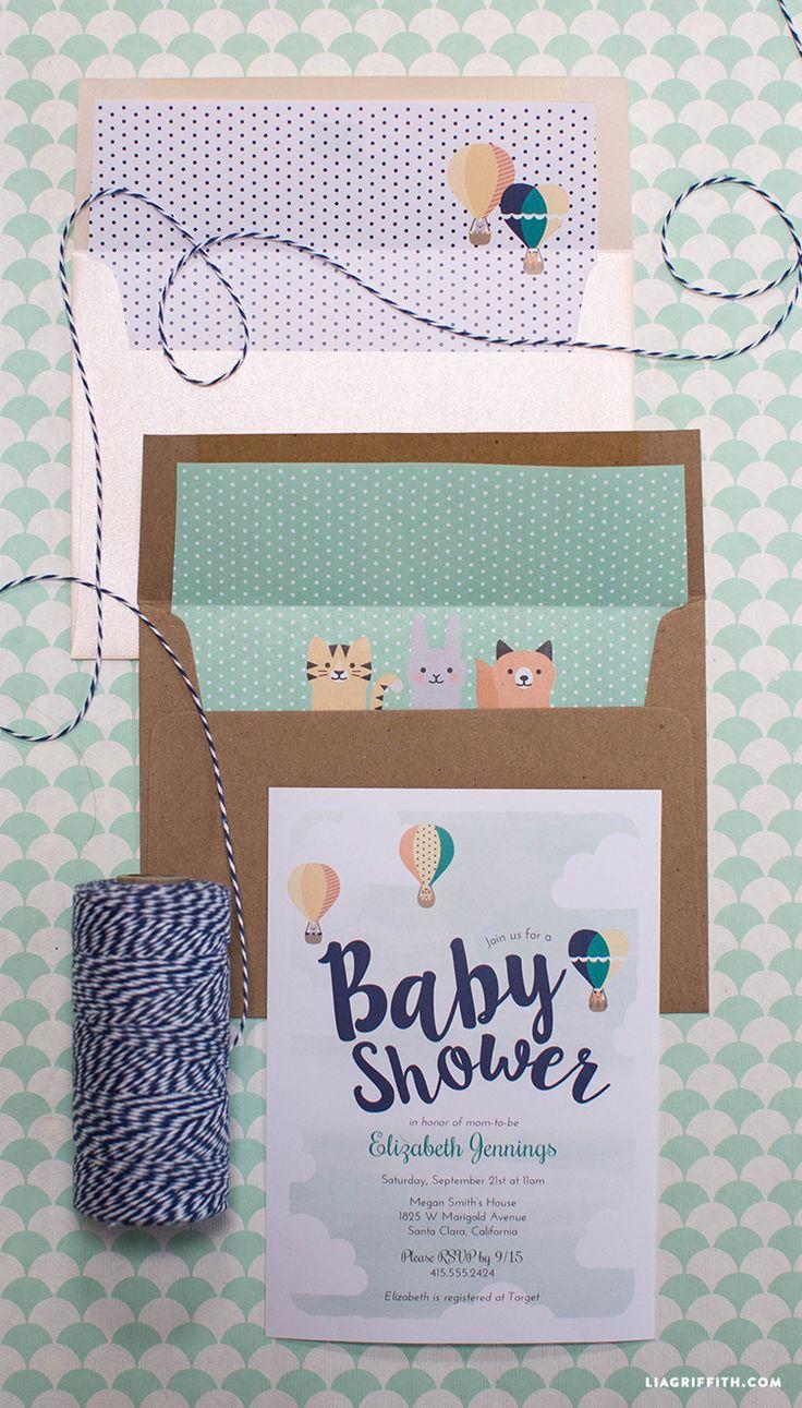 FREE Printable Hot Air Balloon Baby Shower Invitations