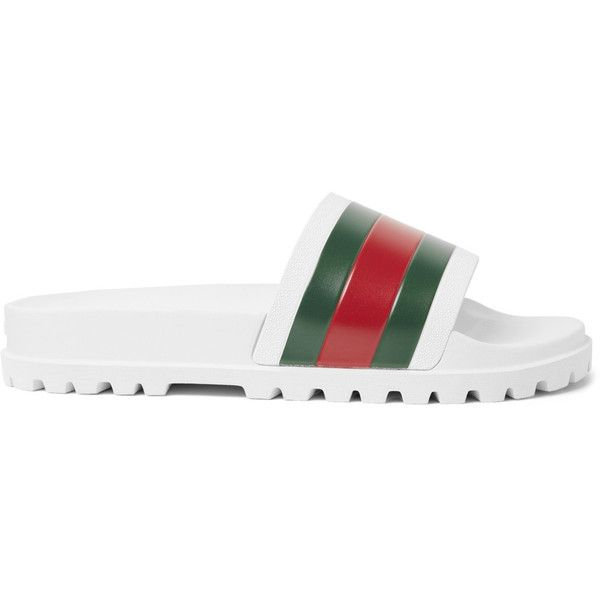 Gucci Striped Rubber Slides ❤ liked on Polyvore featuring men's fashion, men's shoes, men's sandals, mens rubber shoes, mens rubber sandals, gucci mens shoes and gucci mens sandals