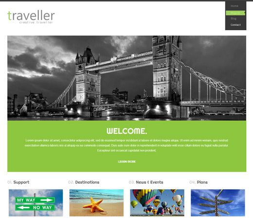 Traveller a travel guide Mobile Website Template. http://w3layouts.com/preview/?l=/traveller-a-travel-guide-mobile-website-template/