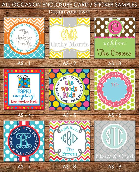 24 Square Personalized All Occasion / Family / Mommy / Sibling / Adult Enclosure Cards or Gift Stickers - Choose ONE DESIGN