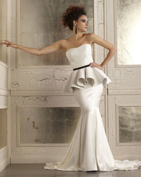 Trendy MADISON CORSET u DEVIN SKIRT Della Giovanna White Leather Peplum with Silk Mermaid Edgy Bridal Gown These are Bridal Separates so that you can mix and