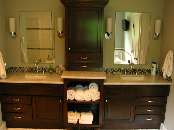 Double Vanity With Linen Cabinet For Double Sink Vanity With Two Tier Top And Bathroom Linen