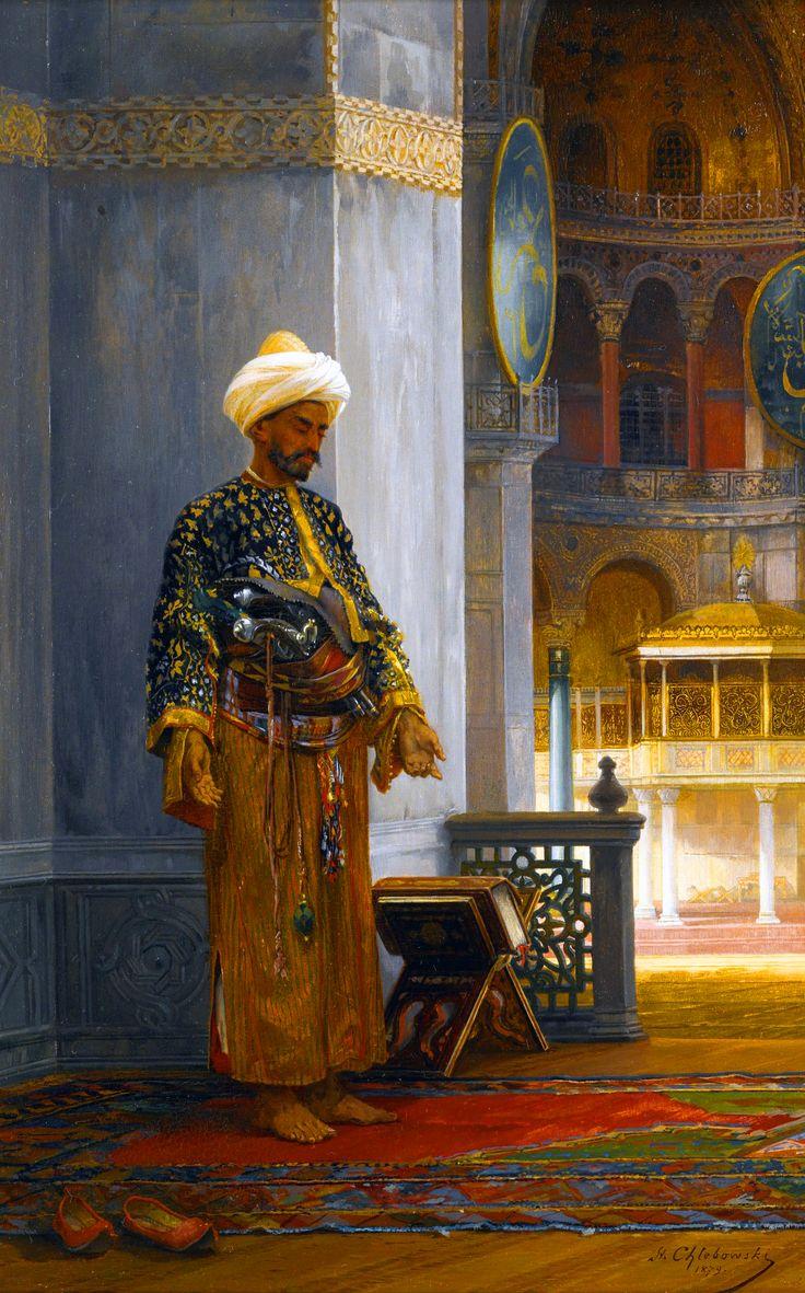 Ottoman soldier praying at Hagia Sophia, Istanbul