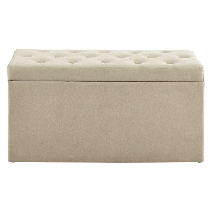 Coffre banc + 2 poufs en coton beige ...