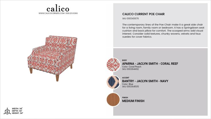 Calico Current Poe Chair in Aparna - Jaclyn Smith - Coral Reef with an accent of Bantry - Jaclyn Smith - Navy in Medium Finish