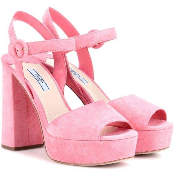 Prada Suede Platform Sandals ($775) ❤ liked on Polyvore featuring shoes, sandals, pink, pink shoes, prada, suede shoes, platform shoes and prada shoes