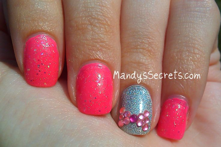 Pink nails notd x2 hot pink nails w holo accent and hot pink nails w holo accent and rhinestone bow cg majestic nails pinterest hot pink nails and pink nails prinsesfo Image collections