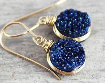 London blau Ohrringe Quarz Edelstein Ohrringe dunkel von starletta