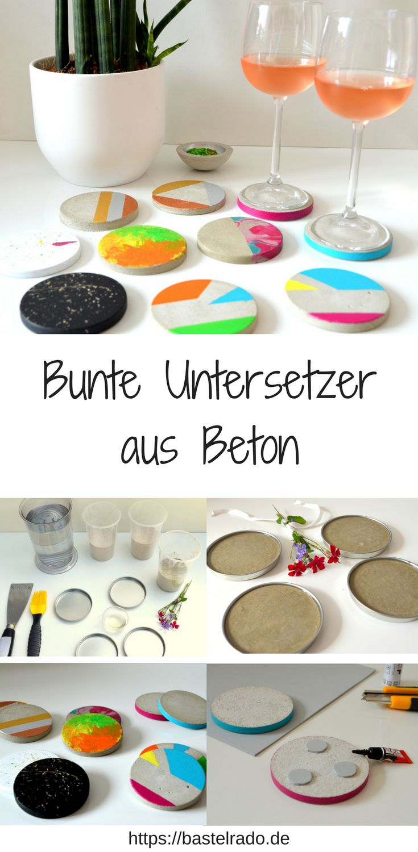 Untersetzer aus Beton – so wird's bunt auf dem Tisch! einfach mit Acrylfarbe und aufmotzen. Hier stelle ich Dir fünf Ideen vor – lass Dich einfach inspirieren.