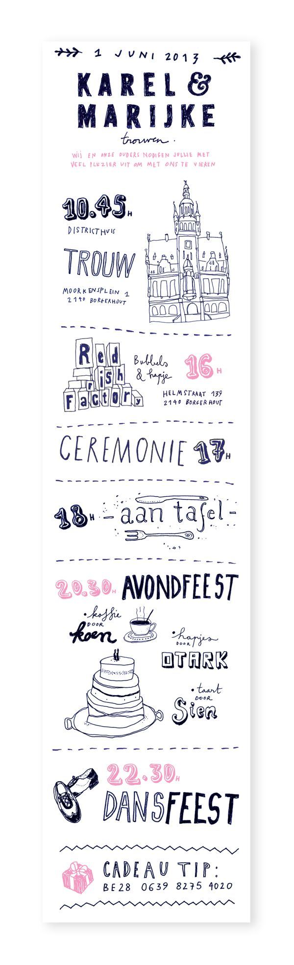 Wedding Invitation Karel and Marijke by Anne Manteleers, via Behance