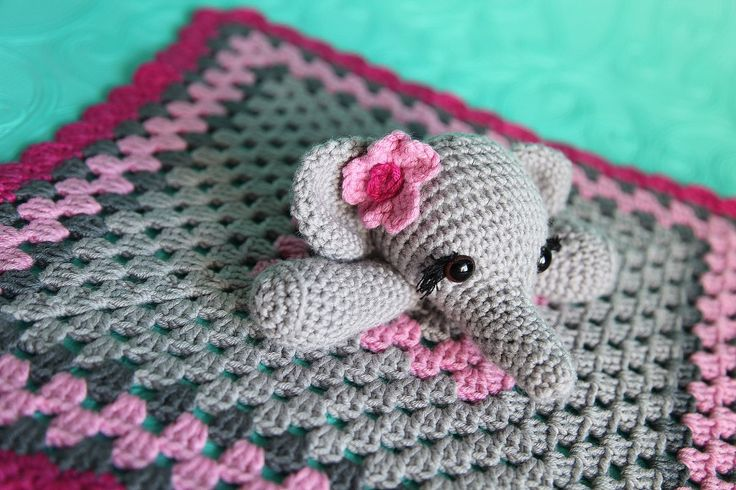 Elephant Lovie Security Blanket Toy Crochet Baby