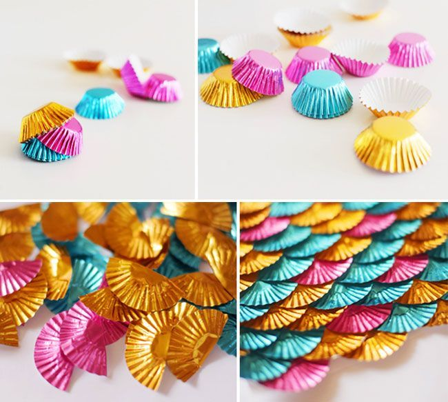 """Use foil cups to make a """"mermaid scale"""" backdrop!-This would also work for a table runner"""