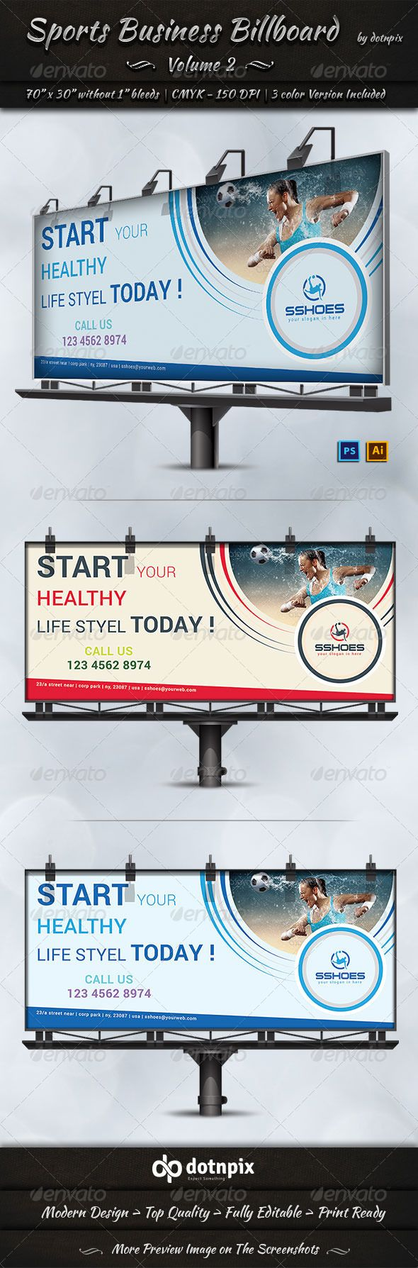 Sports Business Billboard Template #design #ads Download: http://graphicriver.net/item/sports-business-billboard-volume-2/7783667?ref=ksioks