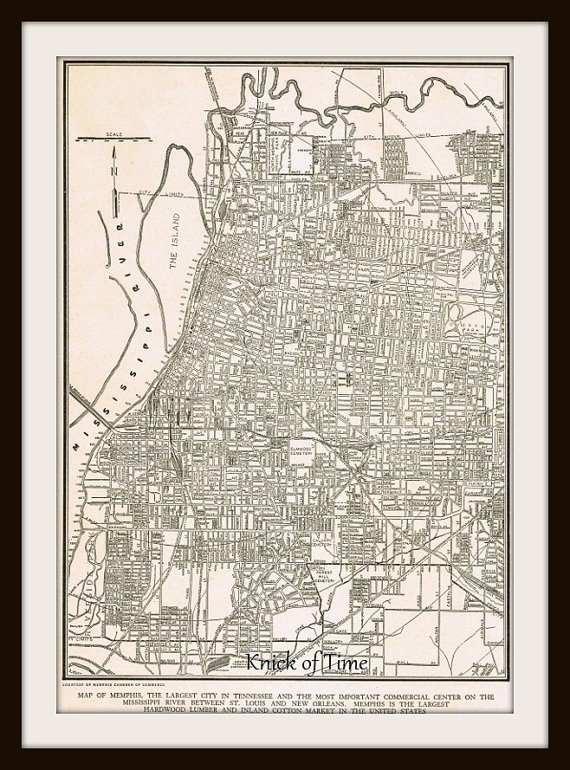 Antique Memphis Map  Vintage MEMPHIS TENNESSEE map  by KnickofTime, $11.50