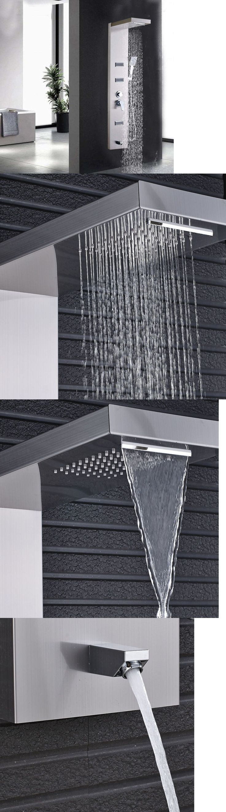Massagers: Brushed Nickel Shower Panel Column Massage Jets Sprayer Modern Square Shower Tub -> BUY IT NOW ONLY: $87.75 on eBay!