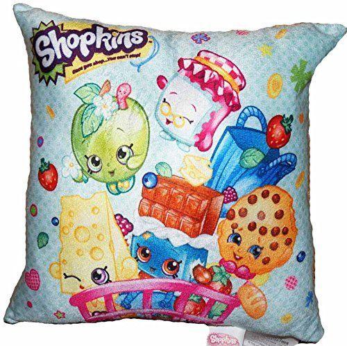"""Shopkins Pillow Season 1 2 3: Kooky Cookie, Cheeky Chocolate, Chee Zee, Apple Blossom (12"""" x 12"""") Shopkins http://www.amazon.com/dp/B018C3WZVS/ref=cm_sw_r_pi_dp_Btm5wb0K153HF"""