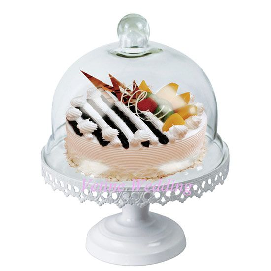 New Design White Romantic Antique vintage metal wedding cake stand with glass clear dome cover - from Alibaba.com