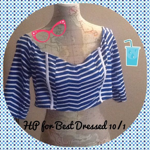 HPfor Best Dressed Dots blue & white crop top HPfor Best Dressed 10/1 Dots blue and white chevron striped off the shoulder drop top with 3/4 length sleeves.  Size XL Dots Tops Crop Tops