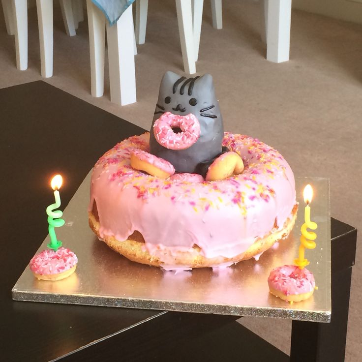Pusheen Doughnut Cake I made!