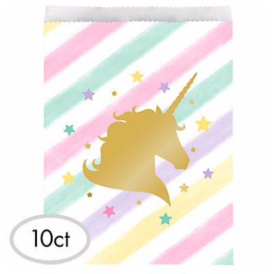 Metallic Unicorn Foil Stamped DELUXE Treat Bags - 10 Pk Party Supplies Canada - Open A Party
