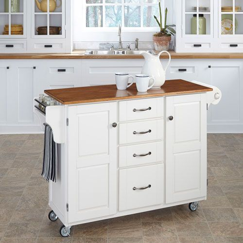 Create A Cart White Finish With Oak Top Serving & Utility Carts Kitchen Islands & Carts K
