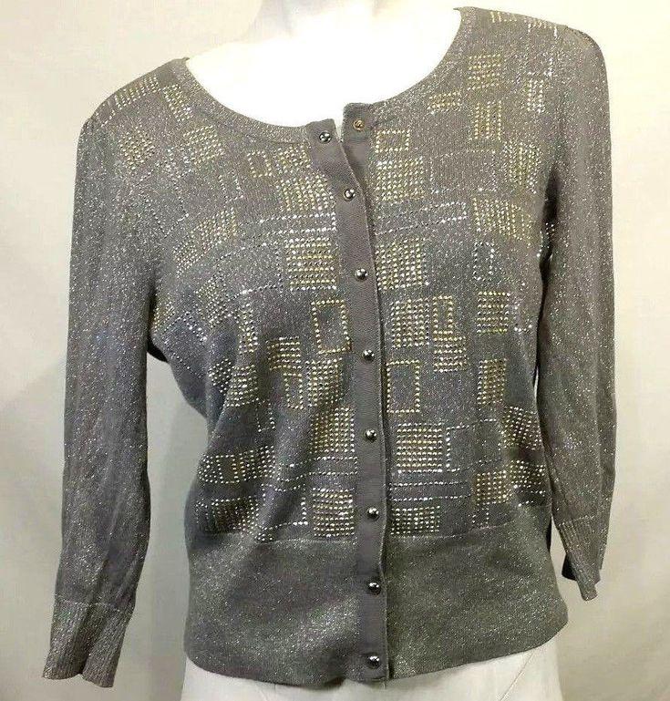 White House Black Market Women's Grey Silver Cardigan Sweater 3/4 Sleeve Small #WhiteHouseBlackMarket #Cardigan #Casual