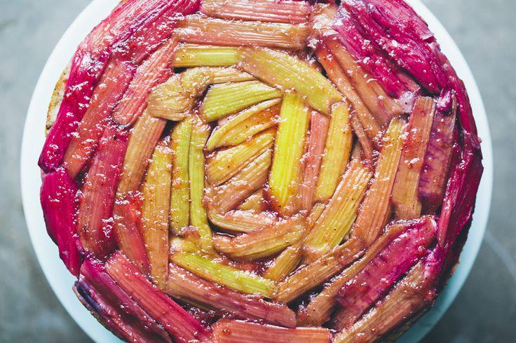 Rhubarb upside-down yogurt cake: Green Kitchen Stories