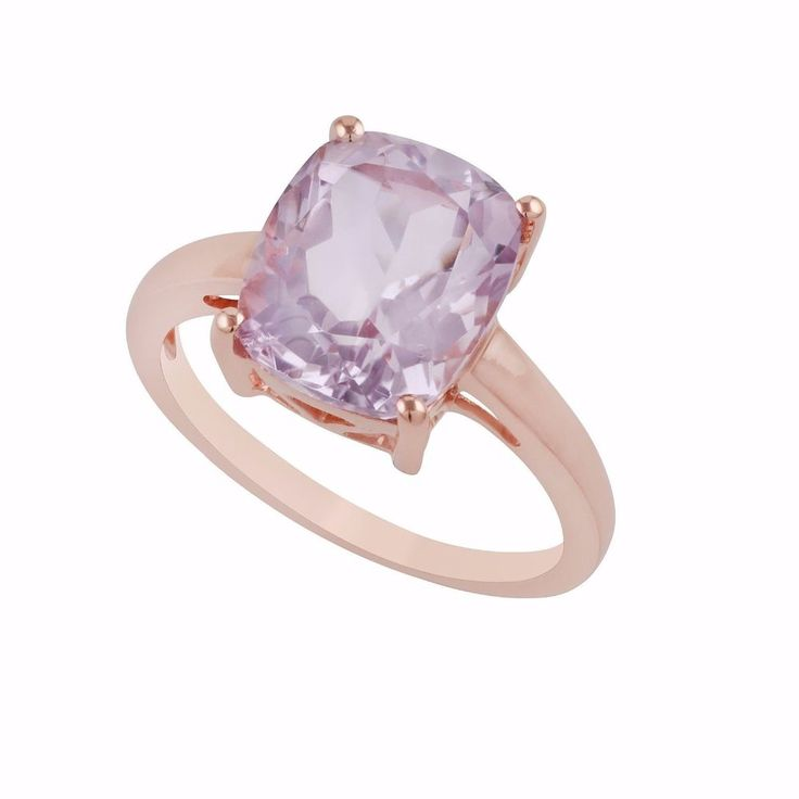 Cushion Pink Amethyst Rose Gold Plated Sterling Silver Ring Valentine Jewelry #Unbranded #Solitaire #ValentinesDay