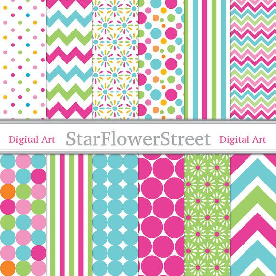 Girl Digital Paper Scrapbook Background - chevron polka dot flower pink turquoise blue green photography birthday party baby wedding shower