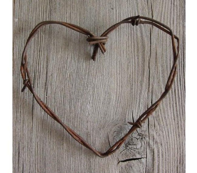 Old Barbed Wire Heart -Simple Old Rustic Heart- Rustic wedding favors shabby chic wedding gifts diy wedding decor rusty metal heart #EasyPin: Wedding Favors, Wire Heart, Wedding Decor, Shabby Chic, Rustic Heart, Heart Simple, Rusty Metals, Barbed Wire, Rustic Wedding