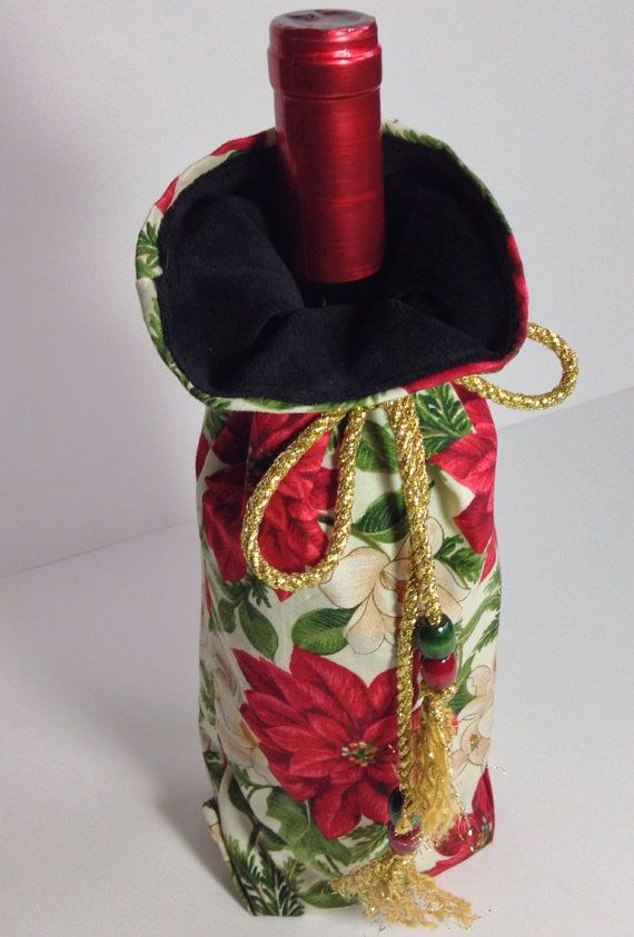 Wine Bottle Gift Bag Pouch, Hostess Re gifting Wine Cozy, Christmas Party Tote Red & Green Poinsettia on Etsy, $10.00