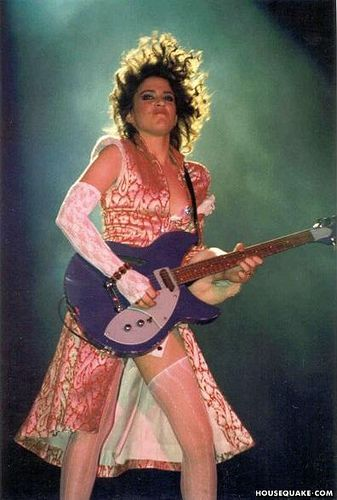 Wendy in her When Doves Cry outfit with Rickenbacker! Purple Rain Tour 1984!