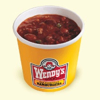 Wendy's small chili is180 calories; large is 270 calories; sour cream is an additional 40 calories