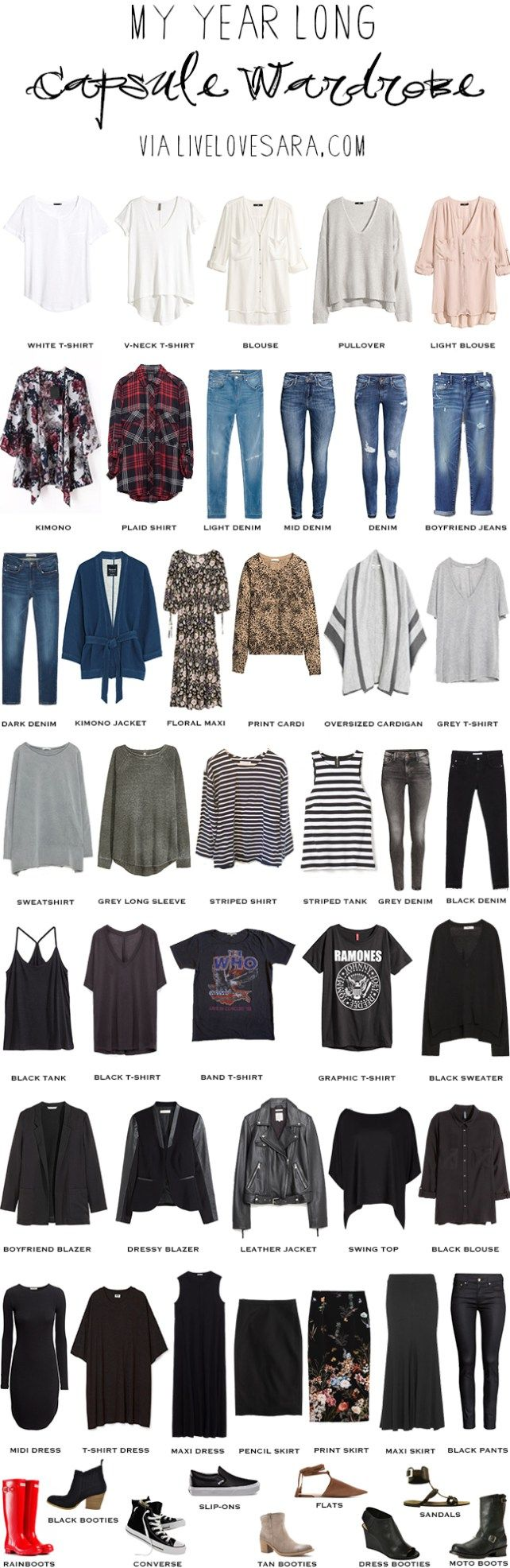 The idea behind this packing light, packing list was casual comfort. New Zealand is known to be a very laid back and casual country so a lot dressy clothes aren't needed. Although I did include one dress that can be dressed up or down if necessary.