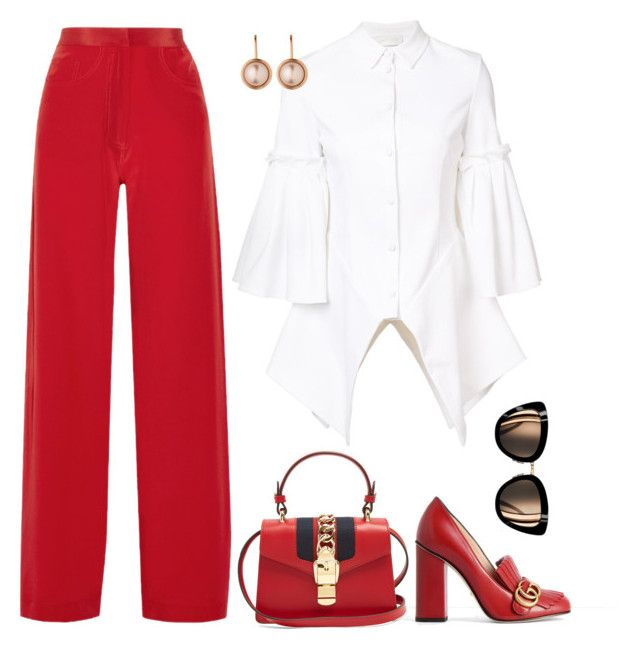 """""""Monday in red"""" by trend-anonymous on Polyvore featuring Juan Carlos Obando, Christian Siriano, Gucci, Dyrberg/Kern, polyvoreeditorial, officeOutfit and Spring2017"""