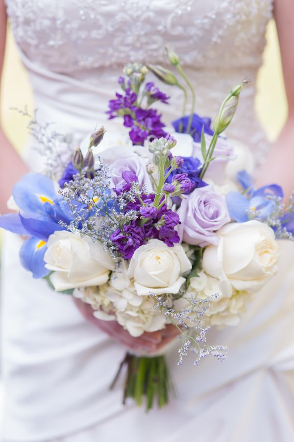 Shades of Blue and Purple Wedding Bouquet, but cascading with an orchid or two