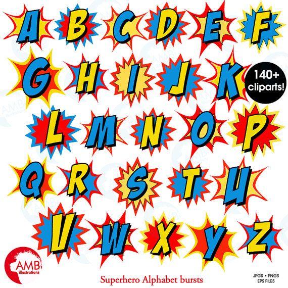 Imágenes Prediseñadas letra de superhéroe por AMBillustrations