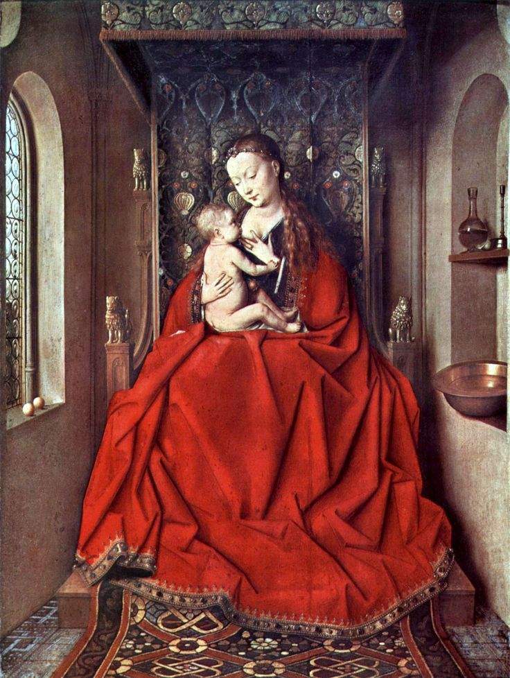 Madonna and Child by Jan van Eyck. The Madonna's rich crimson cloak is set in formalized 'Gothic' folds, the better to display the skills of the artist.