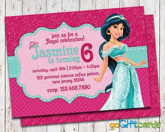 63 best Birthday Invitations images – Princess Jasmine Birthday Invitations