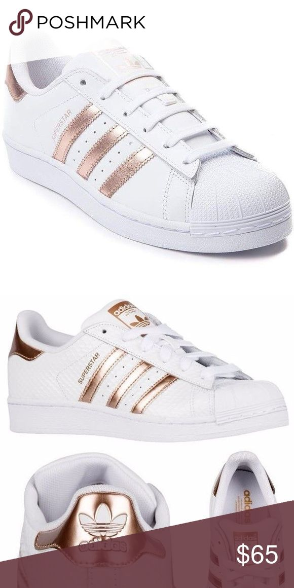 Rose gold white Super Star Adidas ❤️ Rose Gold super star white adidas ! They have been used but are in good shape ! Size is 8.5 they are pretty cheeky and comfortable  adidas Shoes Sneakers