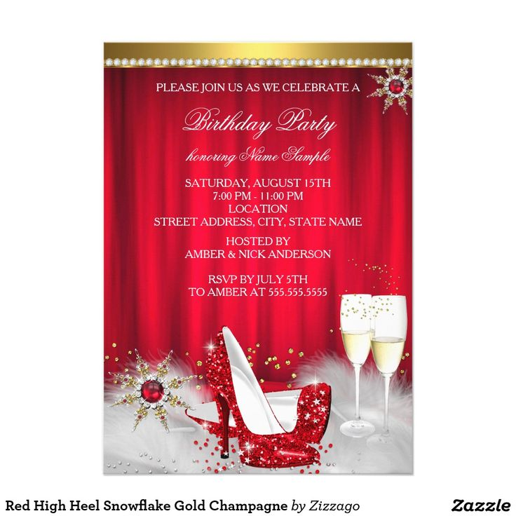 Red High Heel Snowflake Gold Champagne 5x7 Paper Invitation Card
