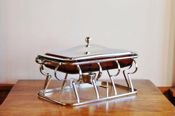 Fire King Chafing Dish Set, Mid Century Anchor Hocking 2 Quart Amber Glass Casserole Chrome Warming Server, Wedding Entertaining Buffet