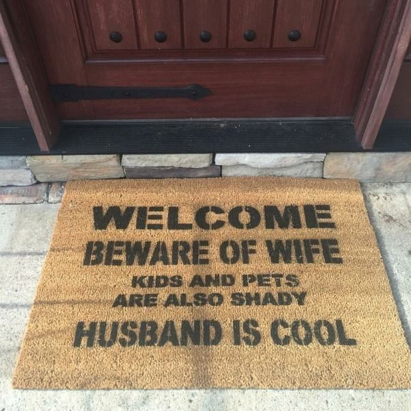 Designer Front Door Mats designer front door mats in the words of nike just do it 7th house on the left concept Beware Of Wife Doormat