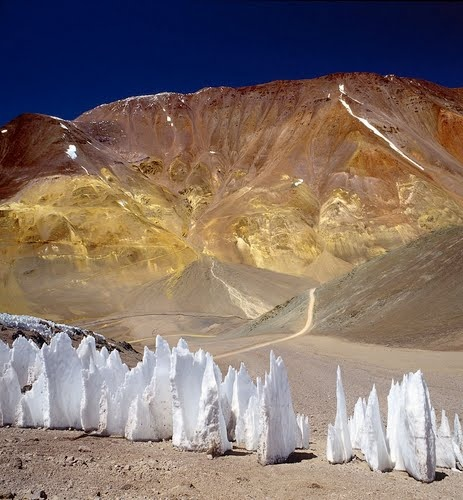 These Ice pinnacles start as a solid glacier or snow field. Photo taken in Iglesia Dept - San Juan Province, Argentina.