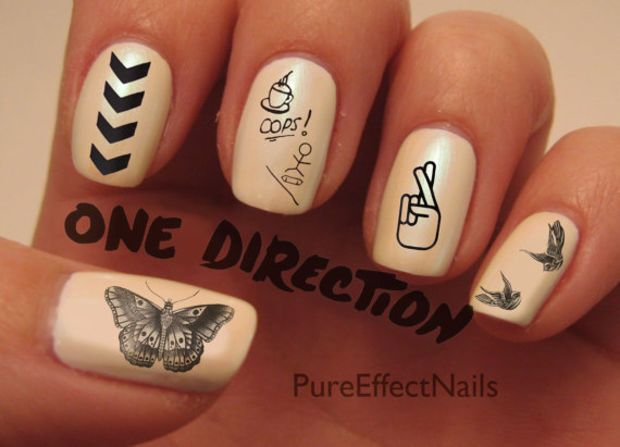 One Direction Tattoo Nail Decals  I like how the middle finger says opps..... :)