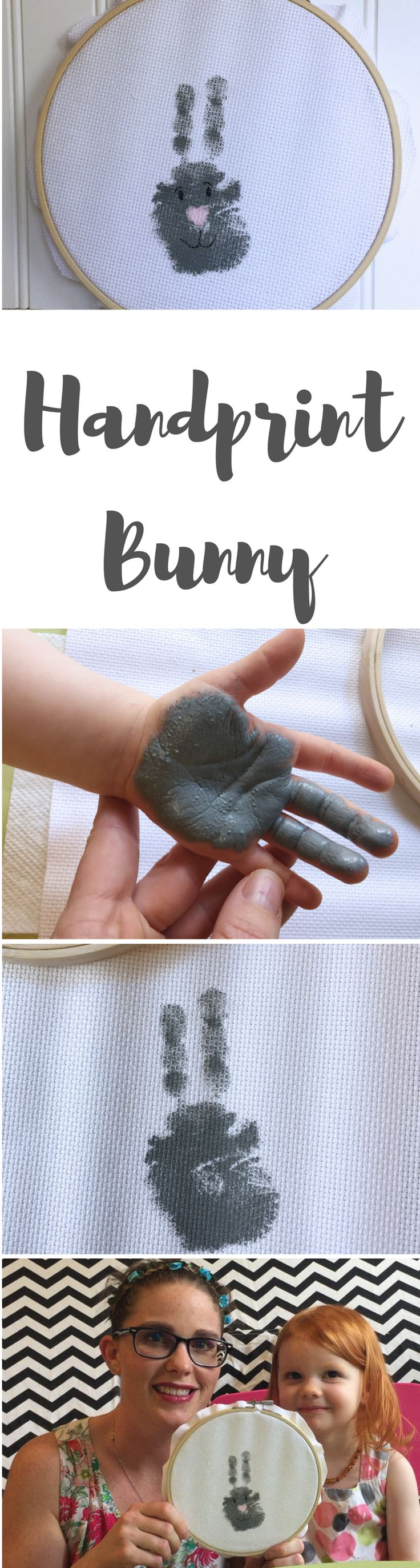 easter craft for toddlers | handprint bunny craft in loop frame for spring and easter