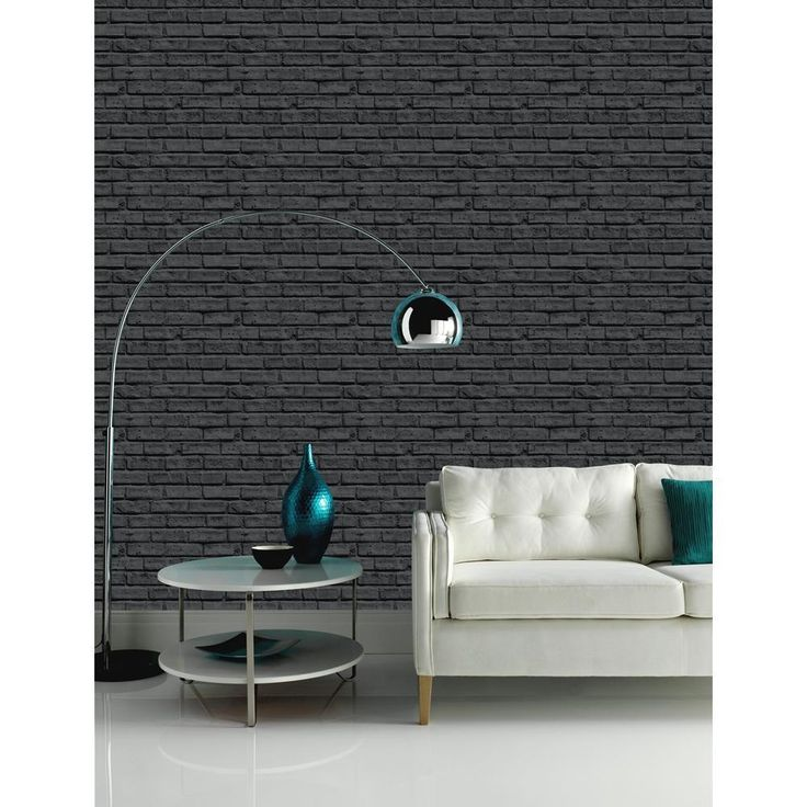 New Arthouse Vip Black Brick Wall Pattern Stone Effect Motif Mural Wallpaper Part 74