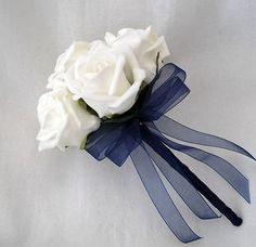 coral and navy wedding   WEDDING FLOWERS - BRIDESMAIDS FLOWERGIRLS POSY BOUQUET IVORY AND NAVY ...
