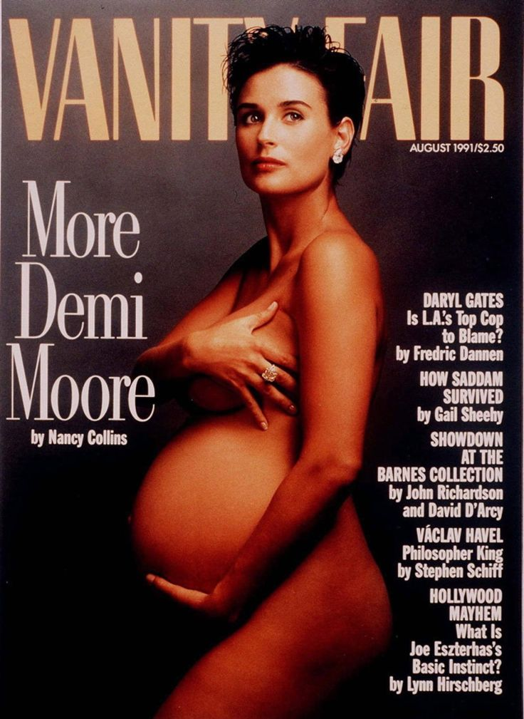 Demi Moore was the first celebrity to appear naked and pregnant on the cover of a magazine, but she certainly wasn't the last. Her 1991 shoot for Vanity Fair would later be copied by stars like Cindy Crawford, Britney Spears and Jessica Simpson.