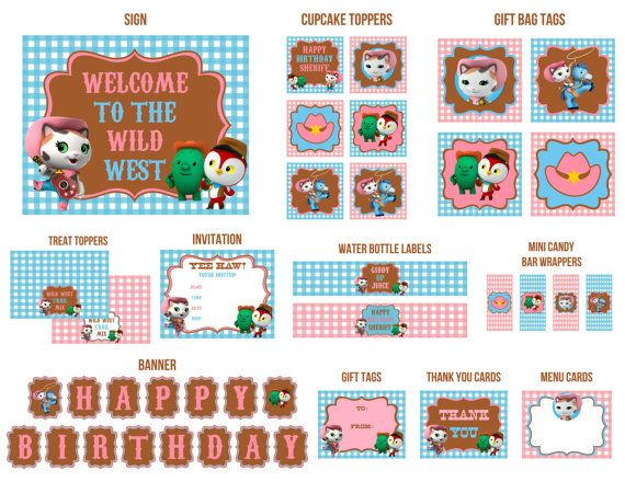 """Sheriff Callie's Wild west printable party pack. $14.25 Pack includes cupcake toppers, sheriff Callie invitations, thank you notes, banner, """"Welcome to the wild west"""" sign, gift tags, sheriff callie trail mix treat toppers, Giddy up juice bottle labels and more"""